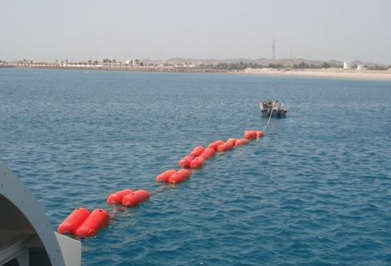 Floating hoses on sea